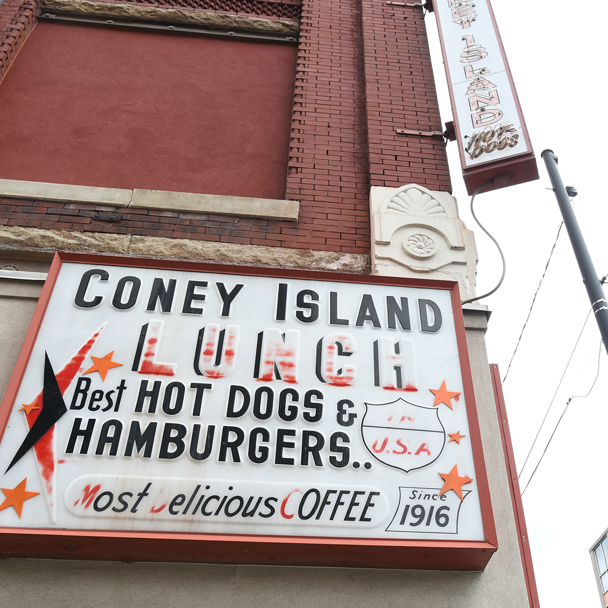 Coney Island Lunch - Best Hot Dogs & Hamburgers Building Sign